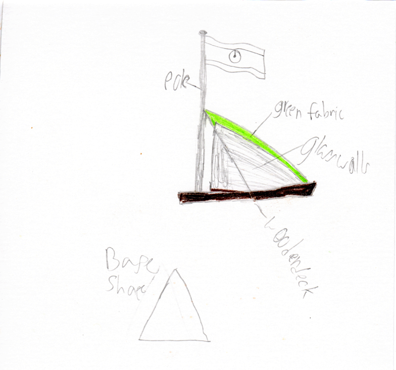 Thomas - Features triangular base, wooden deck, glass walls, green fabric wood, and flag pole.